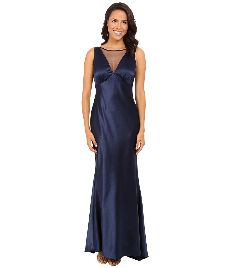rsvp - Darcy Long Satin Gown (Navy) Women's Dress