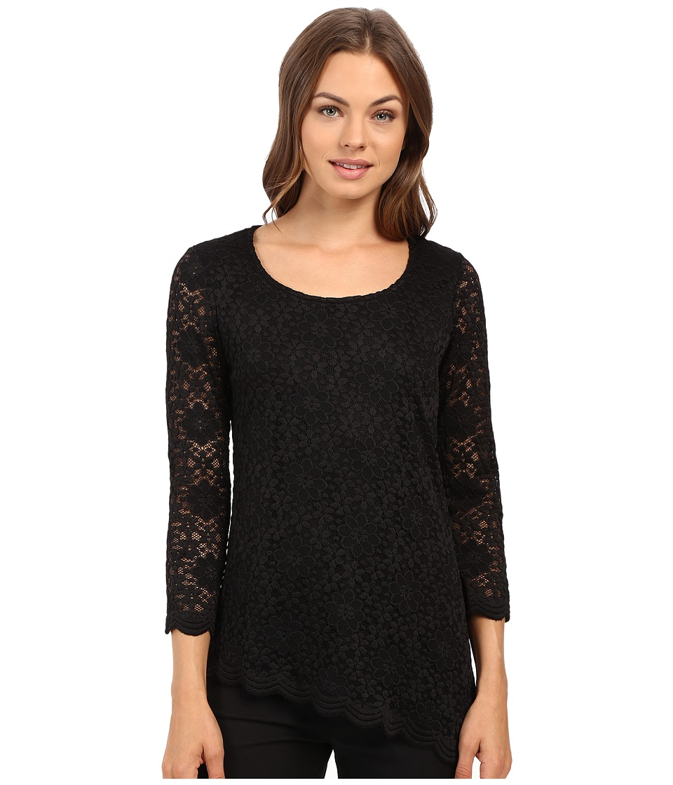 rsvp Cacee Floral Lace Top (Black) Women's Clothing