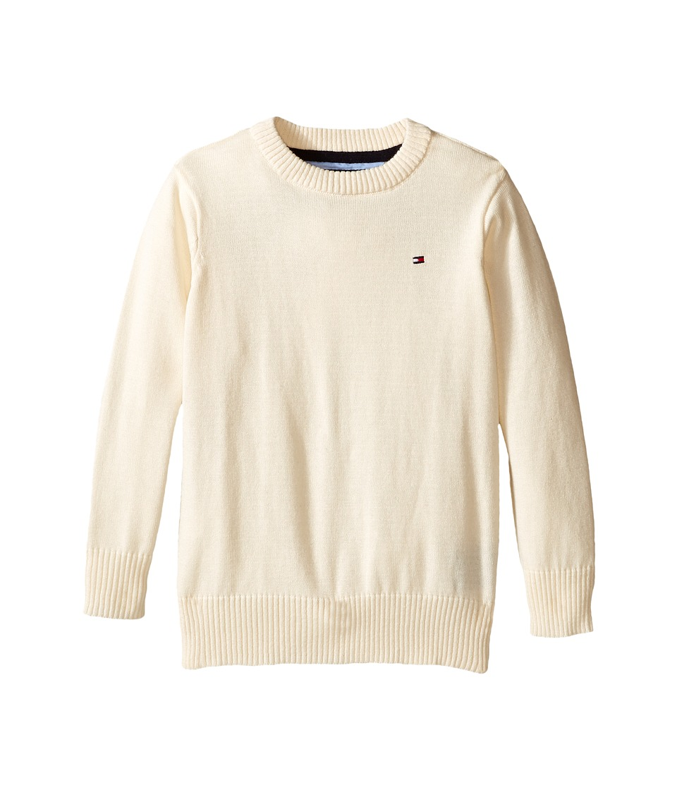 Tommy Hilfiger Kids - Long Sleeve Alan Crew Neck Sweater (Toddler/Little Kids) (Essex Ivory) Boy's Sweater