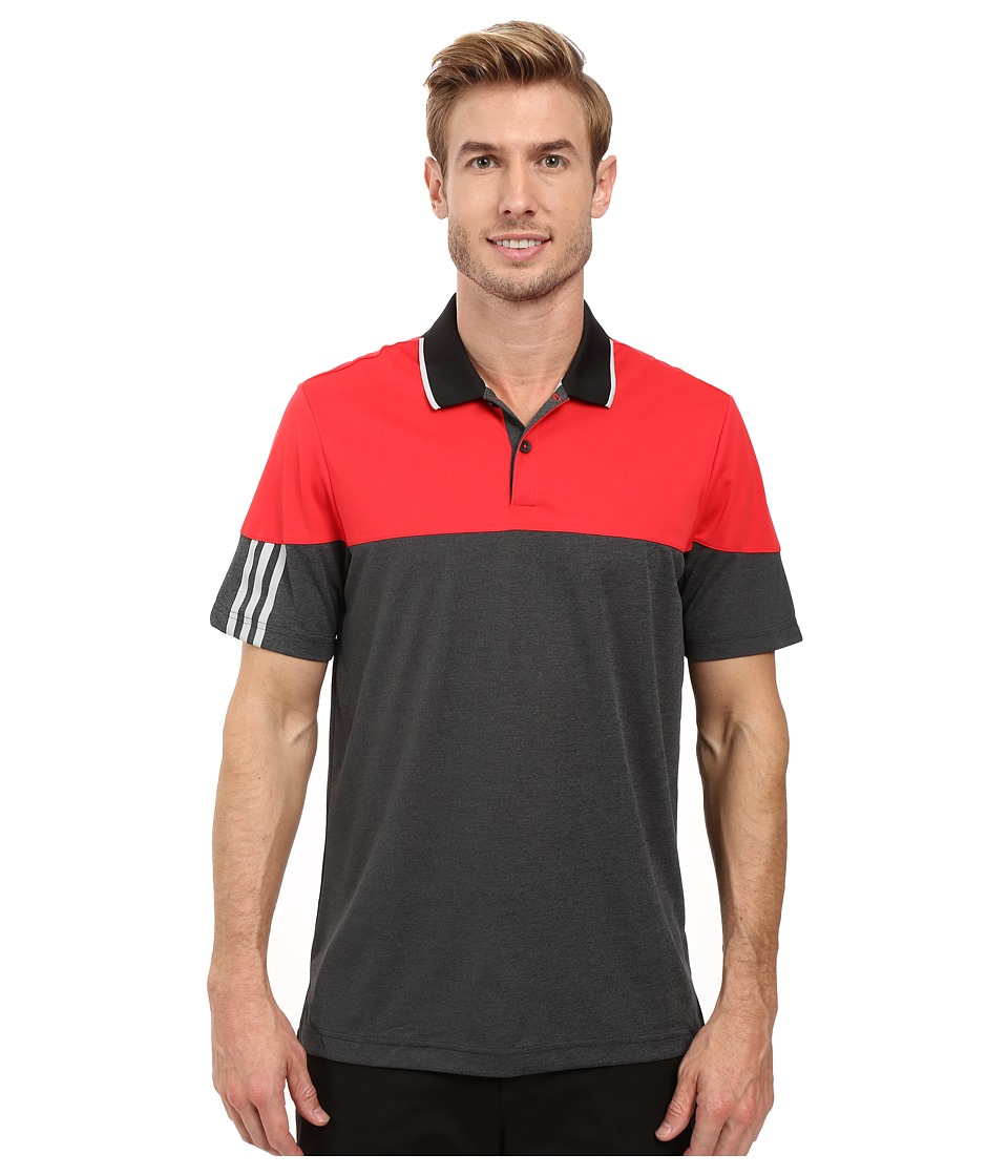 adidas Golf - CLIMACHILL 3-Stripes Block Polo (Ray Red/Black Heather) Men's Clothing