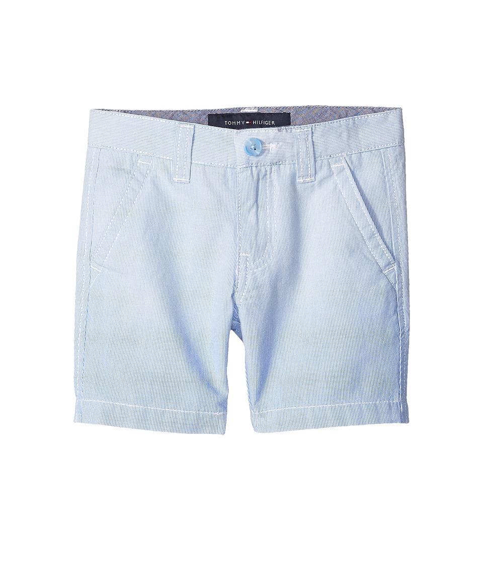 Tommy Hilfiger Kids - Dip Dye Railroad Stripe Flat Front Shorts (Toddler/Little Kids) (Bright Blue) Boy's Shorts