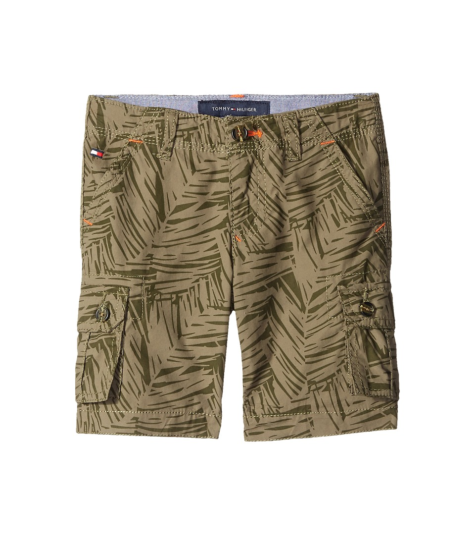 Tommy Hilfiger Kids - Printed Palm Leaf Cargo Shorts (Toddler/Little Kids) (Dusty Olive) Boy's Shorts