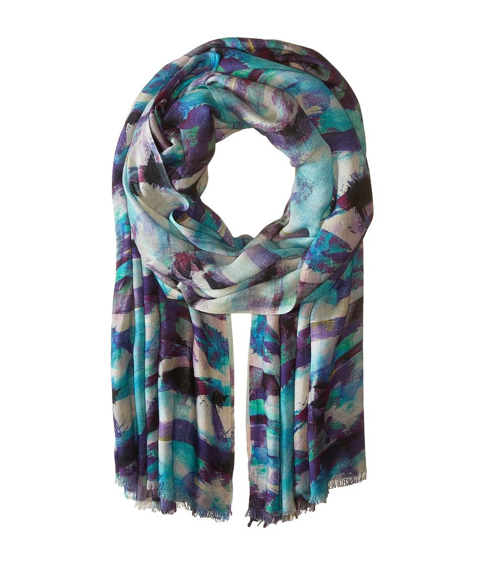 Bindya - Art Background Cashmere/Silk Wrap (Teal) Scarves