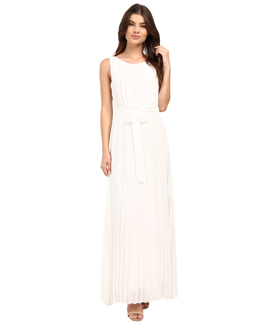 Christin Michaels - Feona Pleated Chiffon Maxi (Ivory) Women's Dress
