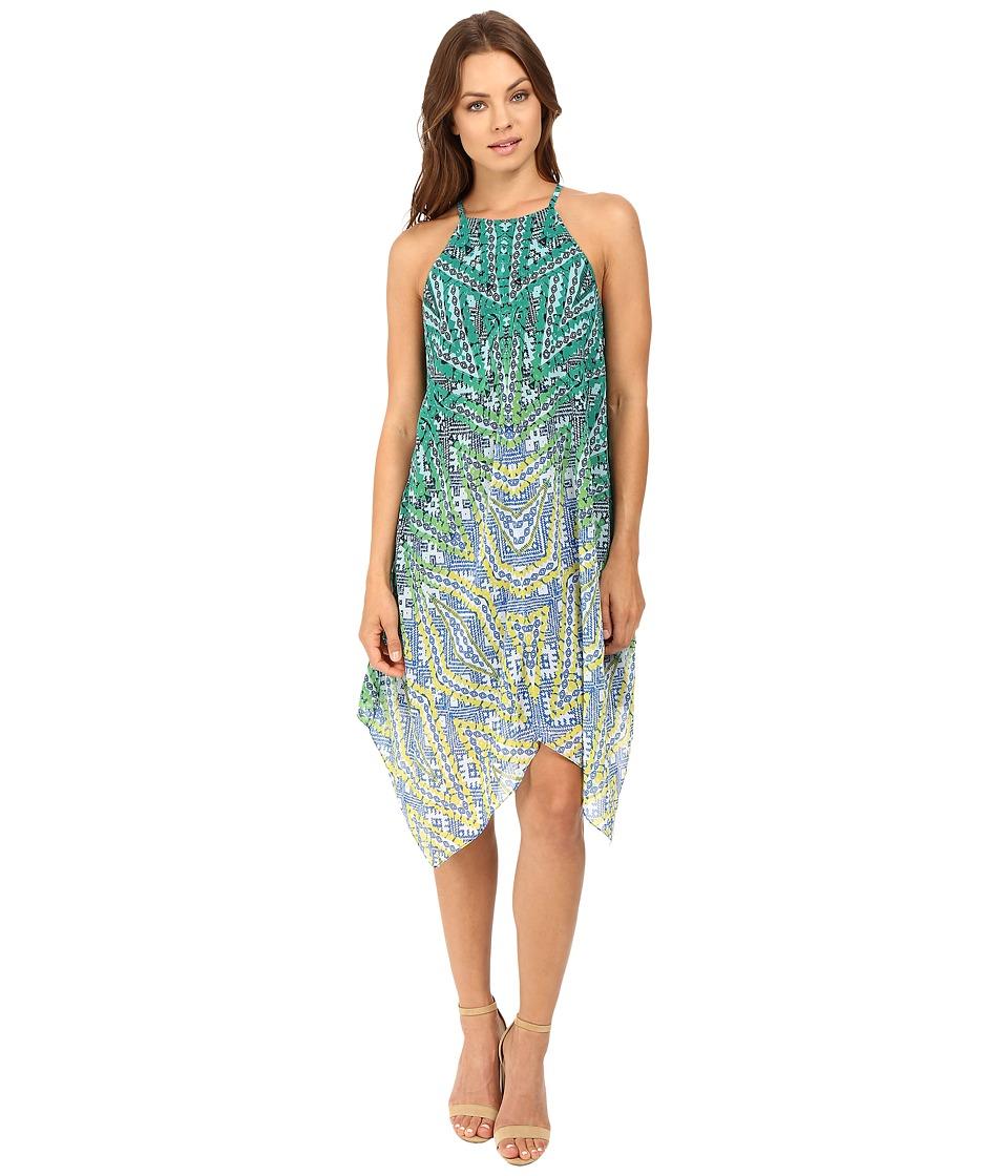 Christin Michaels - Niagra Woven Dress (Citron/Turquoise) Women's Dress