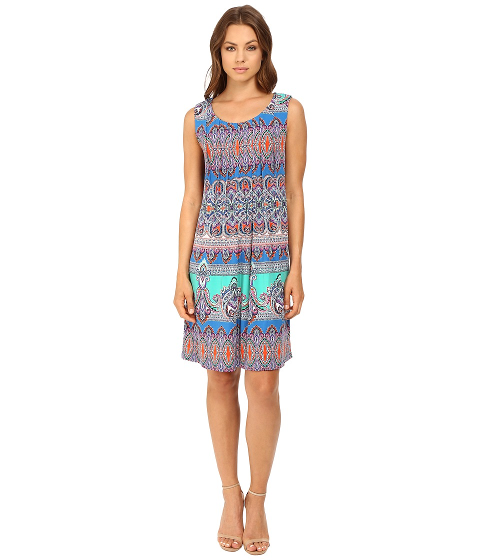 Christin Michaels Kayla Pintuck Dress (Blue/Green Multi) Women