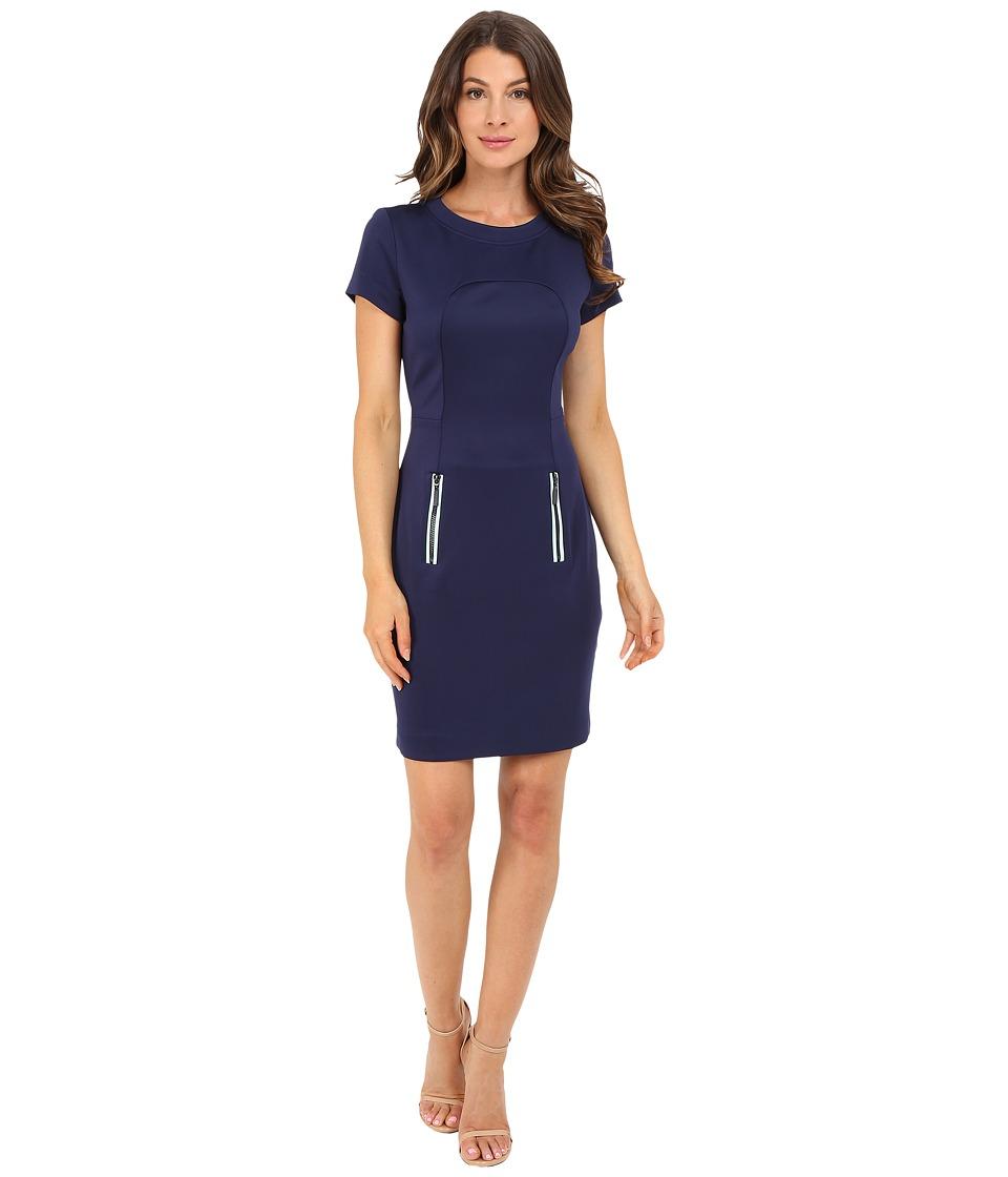 Christin Michaels Emer Scuba Dress (Navy/Mint) Women