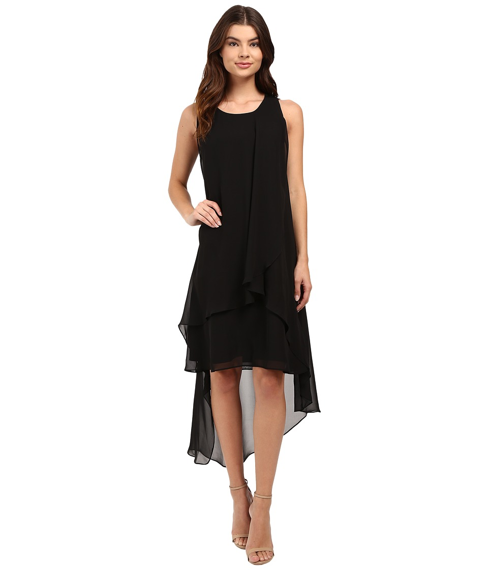 Christin Michaels - Fenella Layered High-Low Dress (Black) Women