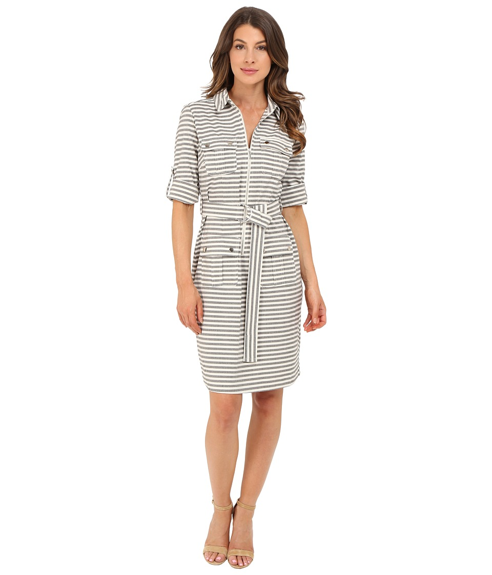 Christin Michaels - Erica Stripe Shirtdress (Black/Ivory) Women's Dress