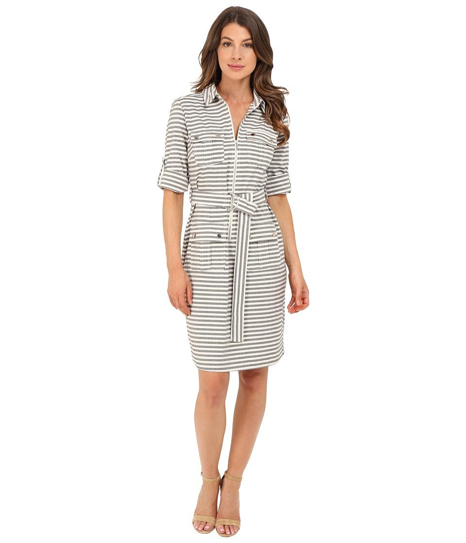 Christin Michaels - Erica Stripe Shirtdress (Black/Ivory) Women's Dress