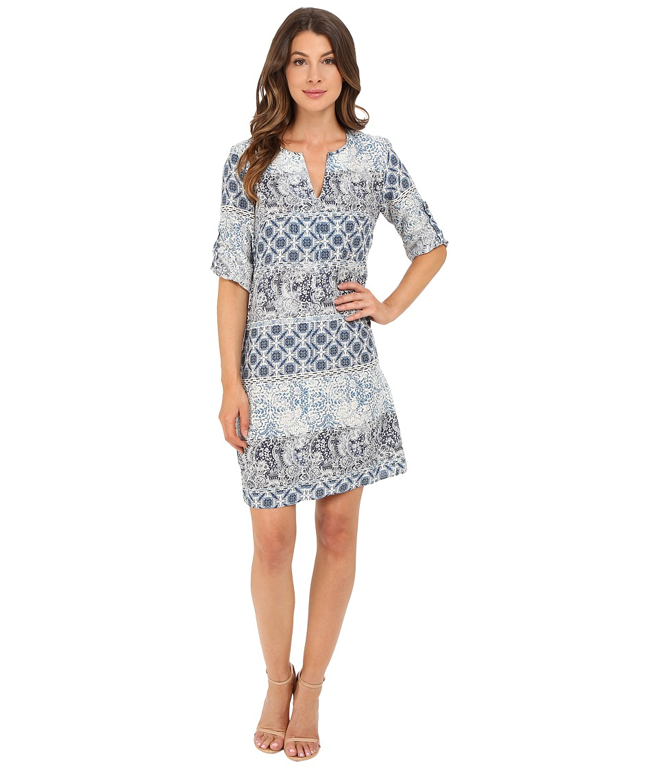 Christin Michaels - Erlina Printed Dress (Light Blue/White) Women's Dress