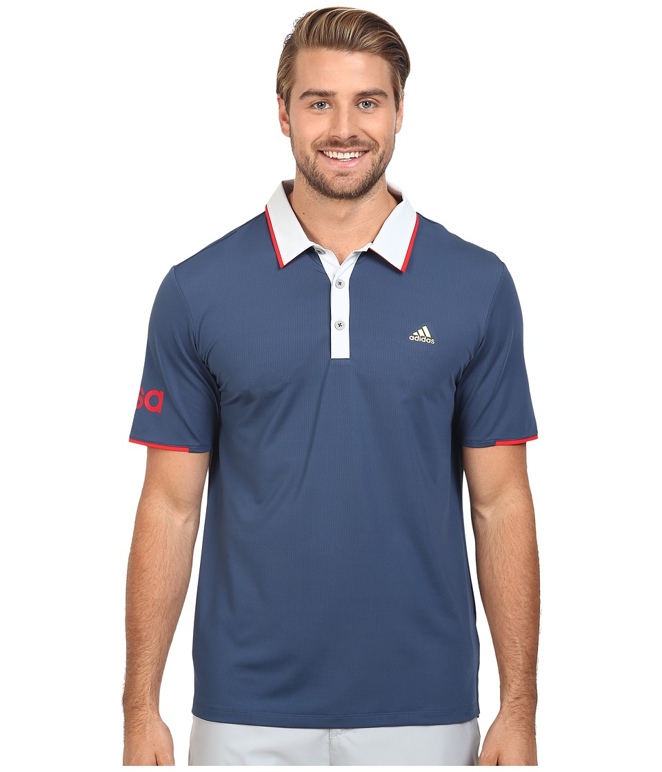 adidas Golf - CLIMACOOL USA Performance Polo (Mineral Blue/Clear Grey) Men's Clothing