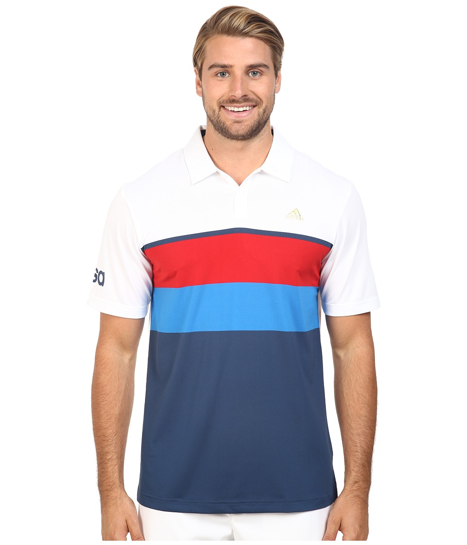 adidas Golf - CLIMACOOL USA Engineered Stripe Polo (White/Mineral Blue) Men's Clothing