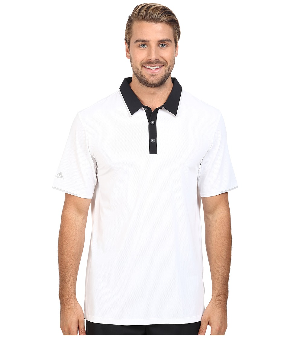 adidas Golf - CLIMACOOL Performance Polo (White/Black) Men's Clothing