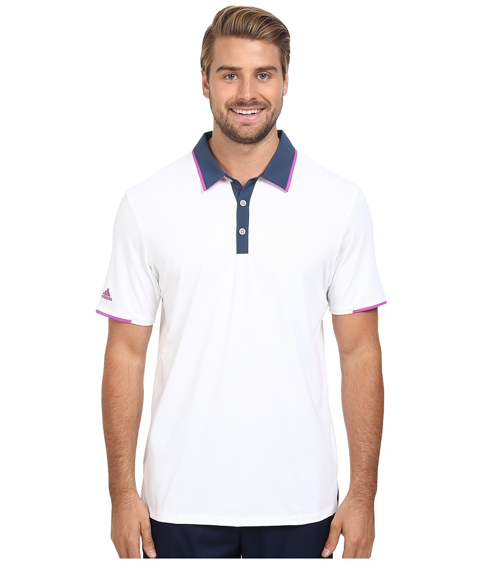 adidas Golf - CLIMACOOL Performance Polo (White/Mineral Blue/Flash Pink) Men's Clothing