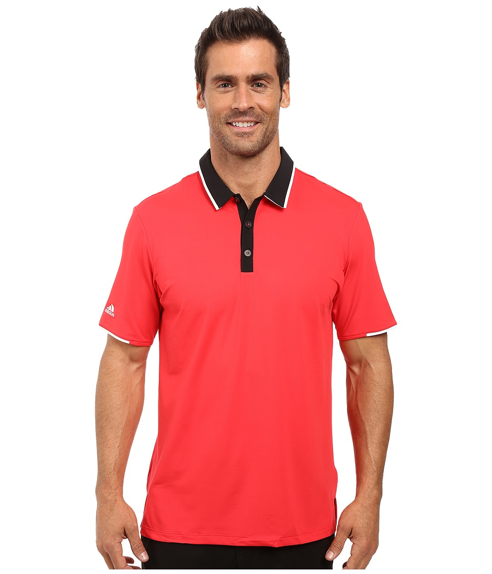 adidas Golf - CLIMACOOL Performance Polo (Ray Red/Black) Men's Clothing