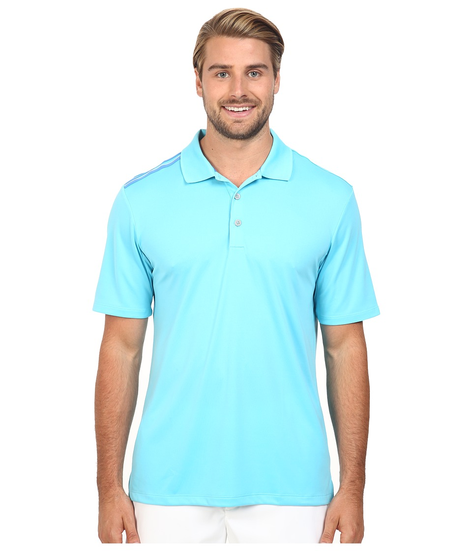 adidas Golf - CLIMACOOL 3-Stripes Polo (Blue Glow) Men's Clothing