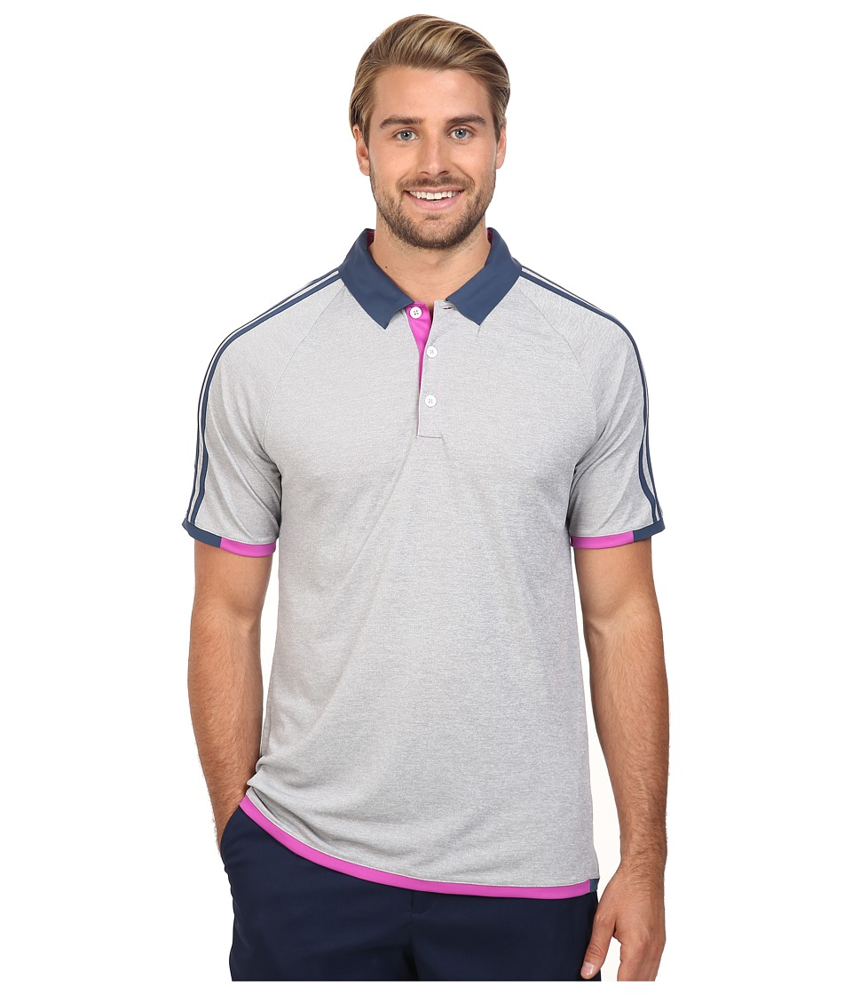 adidas Golf - CLIMACHILL 3-Stripes Competition Polo (Medium Grey Heather/Mineral Blue) Men's Clothing