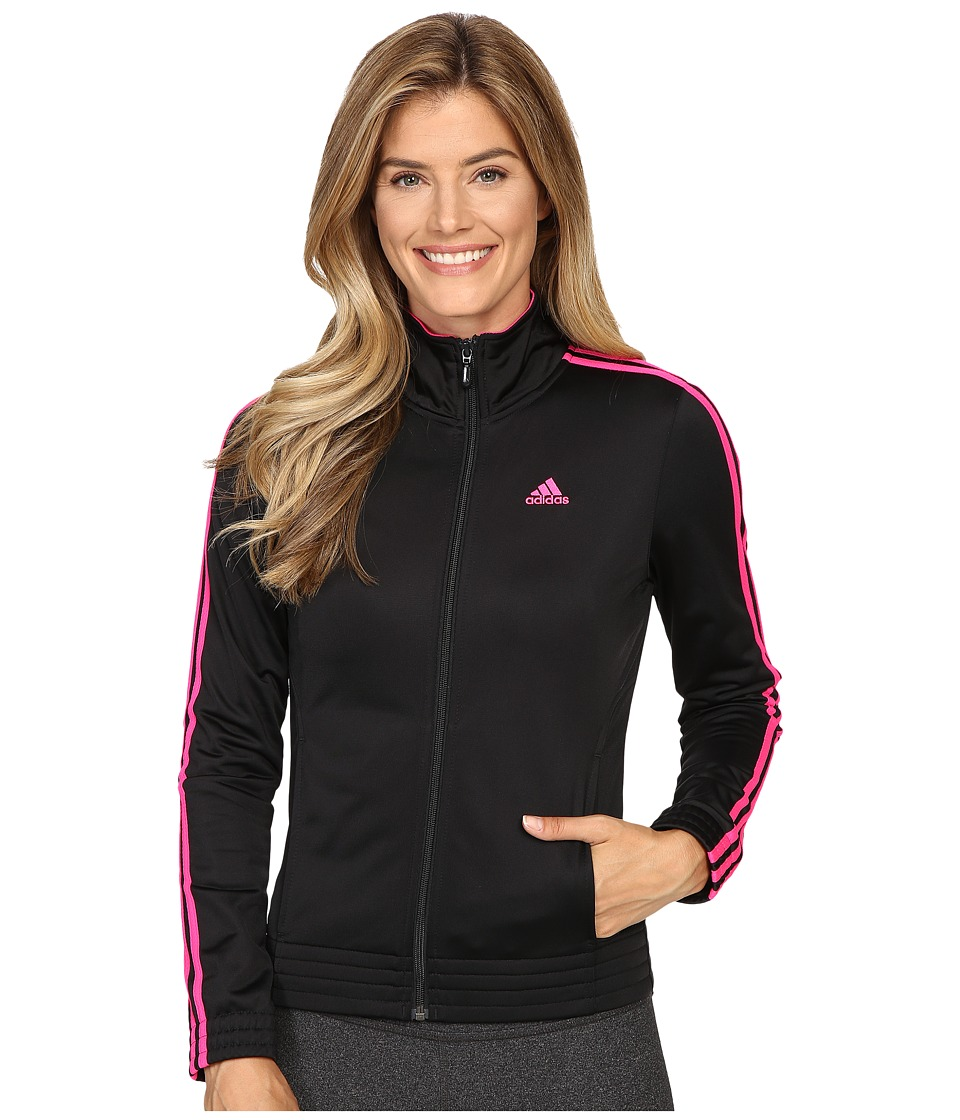 adidas - 3-Stripes Jacket (Black/Shock Pink) Women's Coat