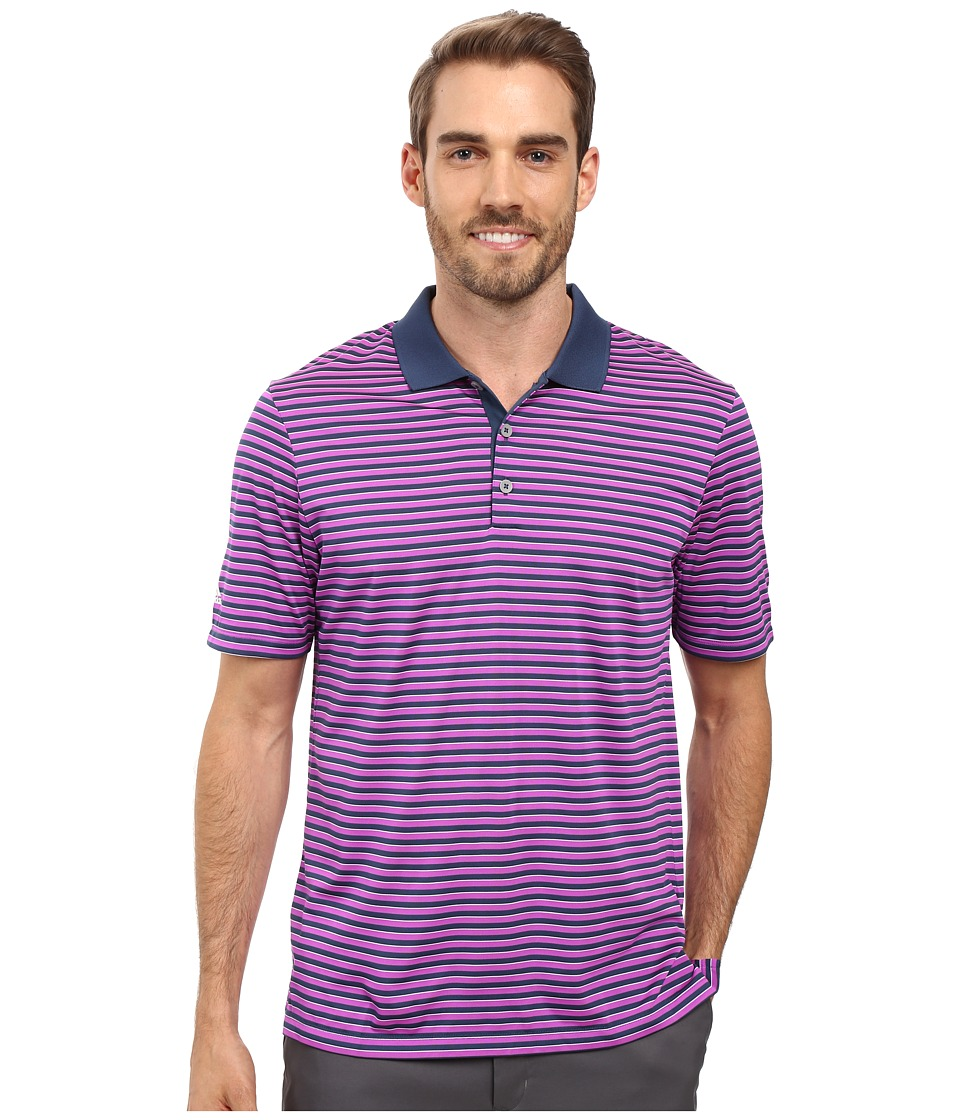 adidas Golf - Performance 3-Color Stripe Polo (Mineral Blue/Flash Pink) Men's Clothing