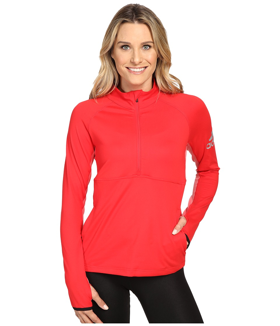 adidas - Performer 1/2 Zip Jacket (Ray Red) Women's Coat