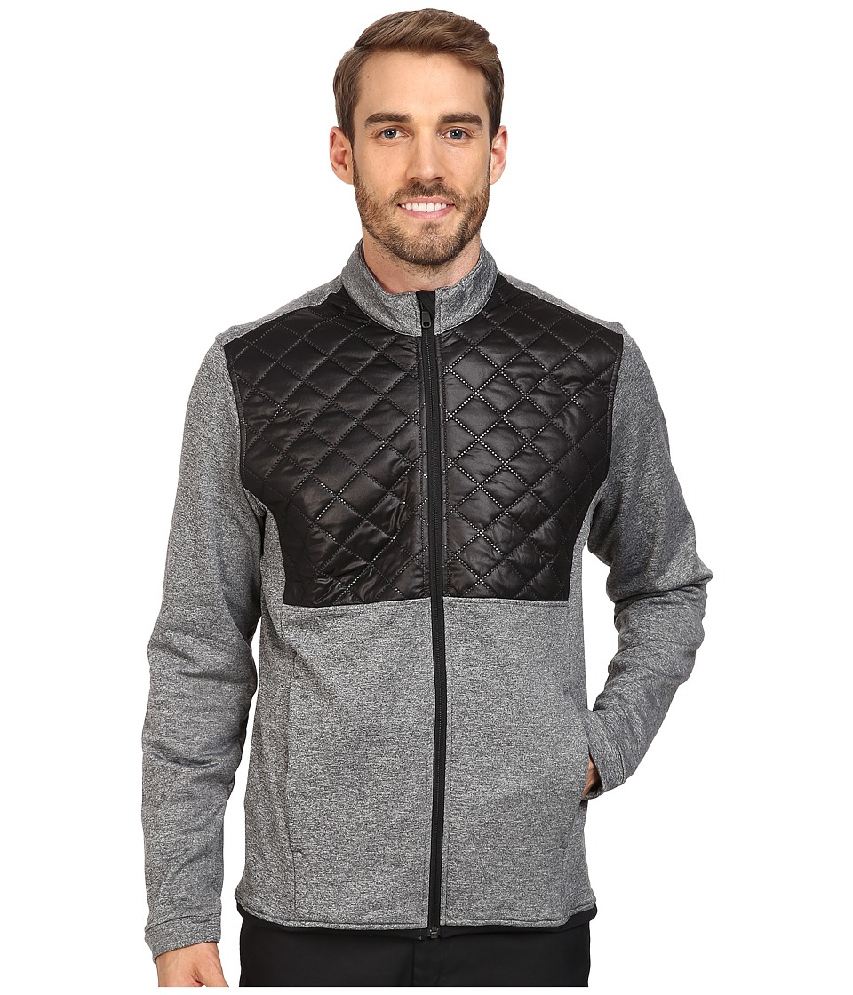 adidas Golf - CLIMAHEAT(r) Prime Quilted Full Zip Jacket (Dark Grey Heather/Black) Men's Coat -  adult