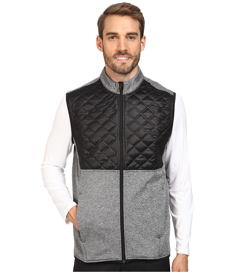 adidas Golf - CLIMAHEAT Prime Quilted Full Zip Vest (Dark Grey Heather/Black) Men's Vest -  adult