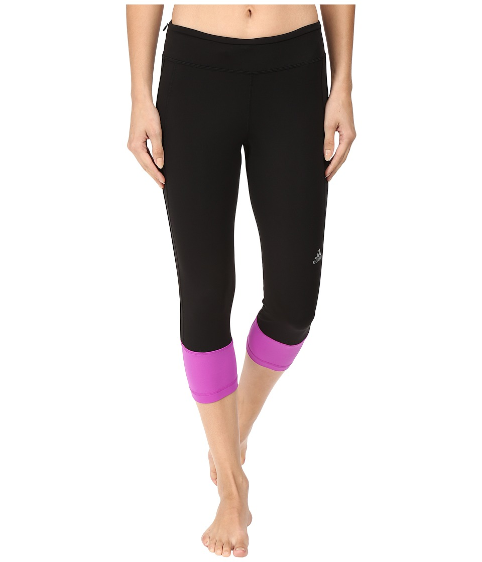 adidas - Response 3/4 Tights (Black/Shock Purple) Women's Workout