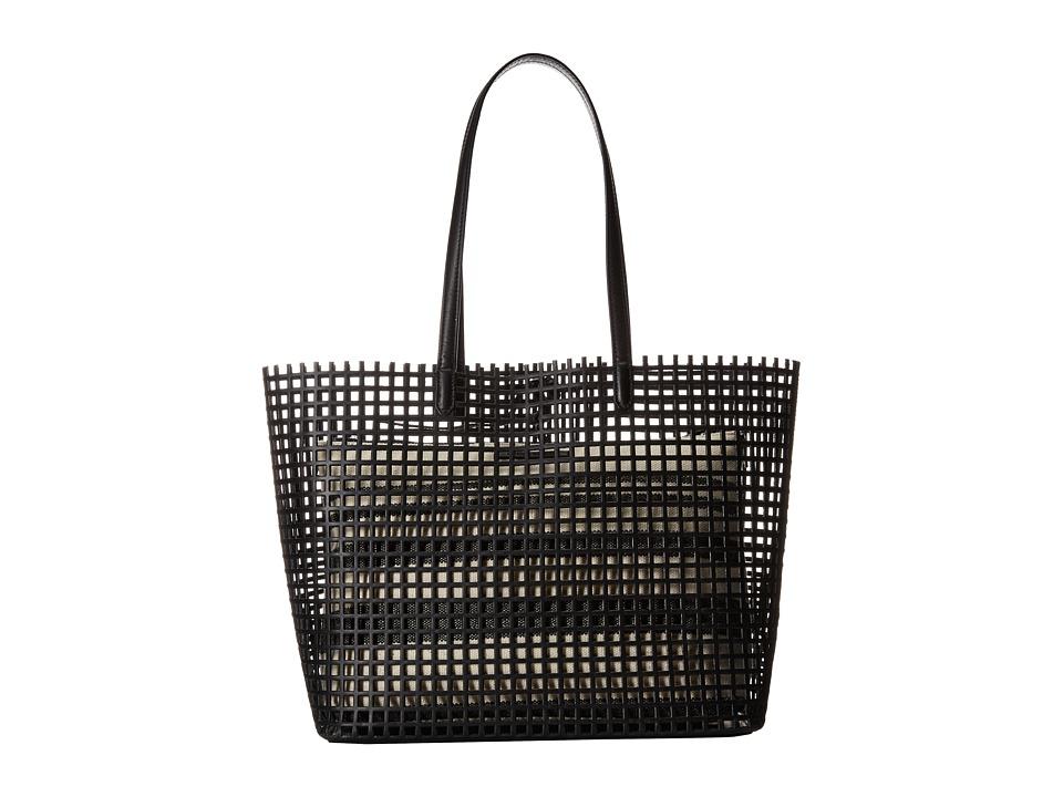 Loeffler Randall - Double Handle Beach Tote (Black Natural Canvas/Black Vacchetta) Tote Handbags