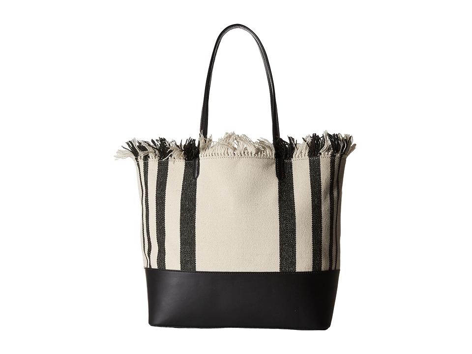 Loeffler Randall - Double Handle Beach Tote (Black Vacchetta/Black Natural Canvas) Tote Handbags