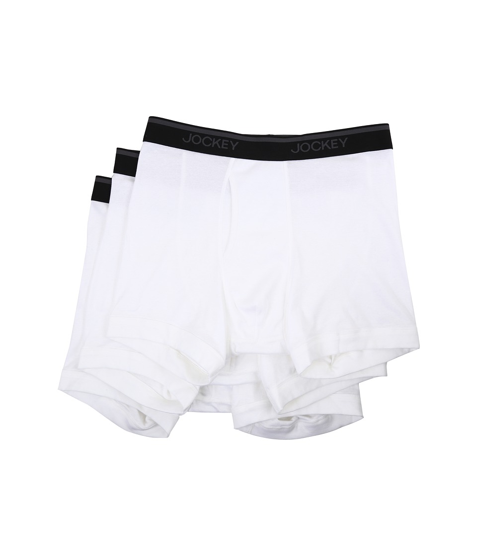 Jockey - Staycool Classic Fit Boxer Brief 3-Pack (White) Men's Underwear