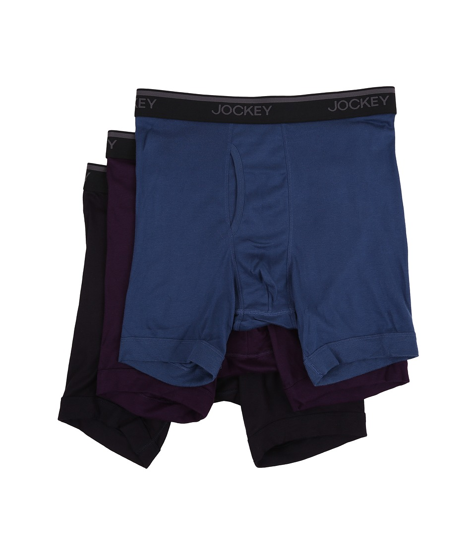 Jockey - Staycool Classic Fit Athletic Midway Brief 3-Pack (Antique Azure/Tawny Port/Best Navy) Men's Underwear