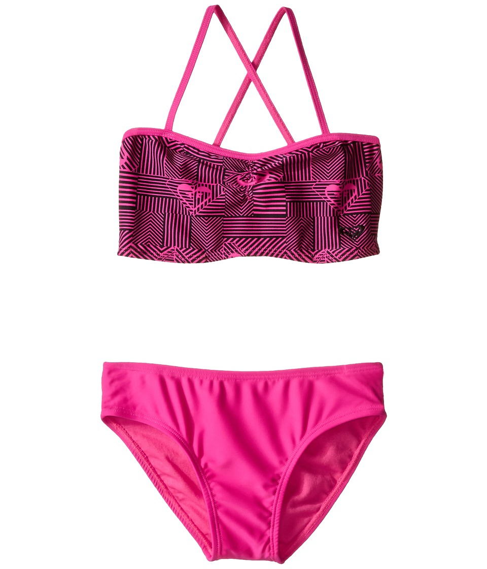 Roxy Kids - Retro Sport Bandeau Set (Big Kids) (Fuchsia Purple) Girl's Swimwear Sets