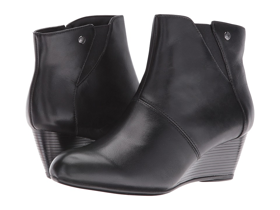 Hush Puppies - Poised Rhea (Black WP Leather) Women's Slip on Shoes