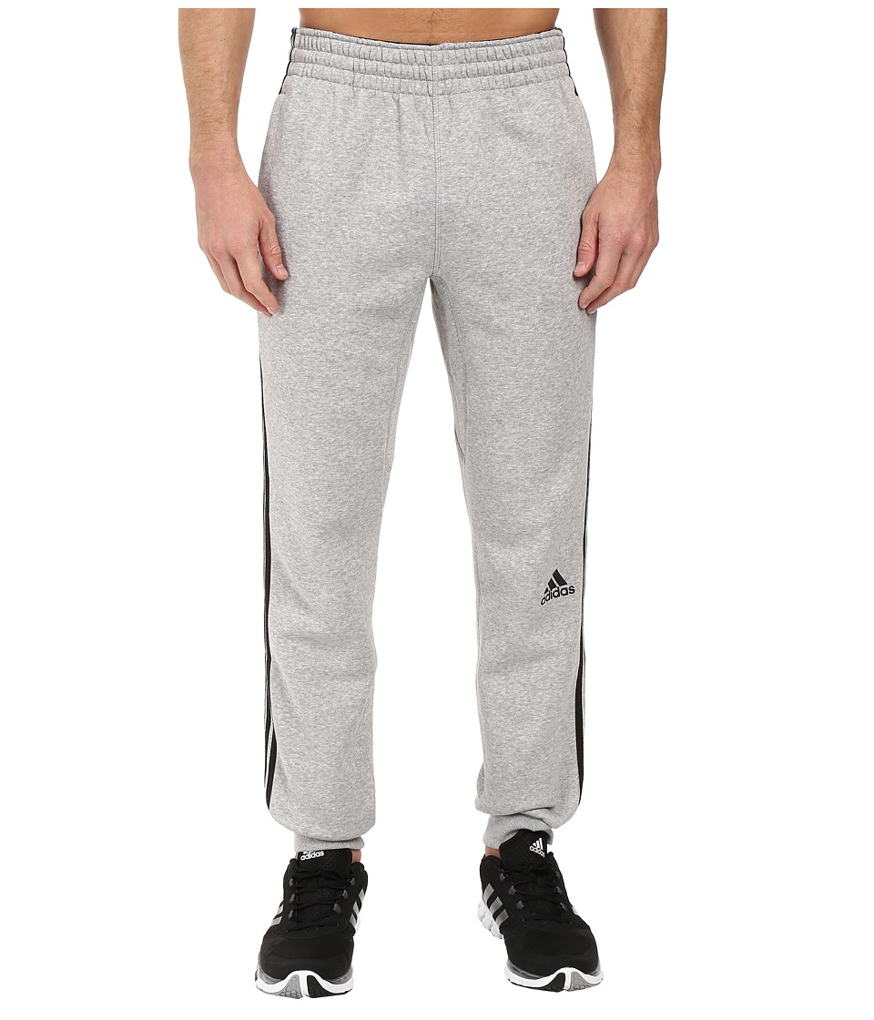 adidas - Slim 3-Stripes Sweatpants (Medium Grey Heather/Black) Men's Workout