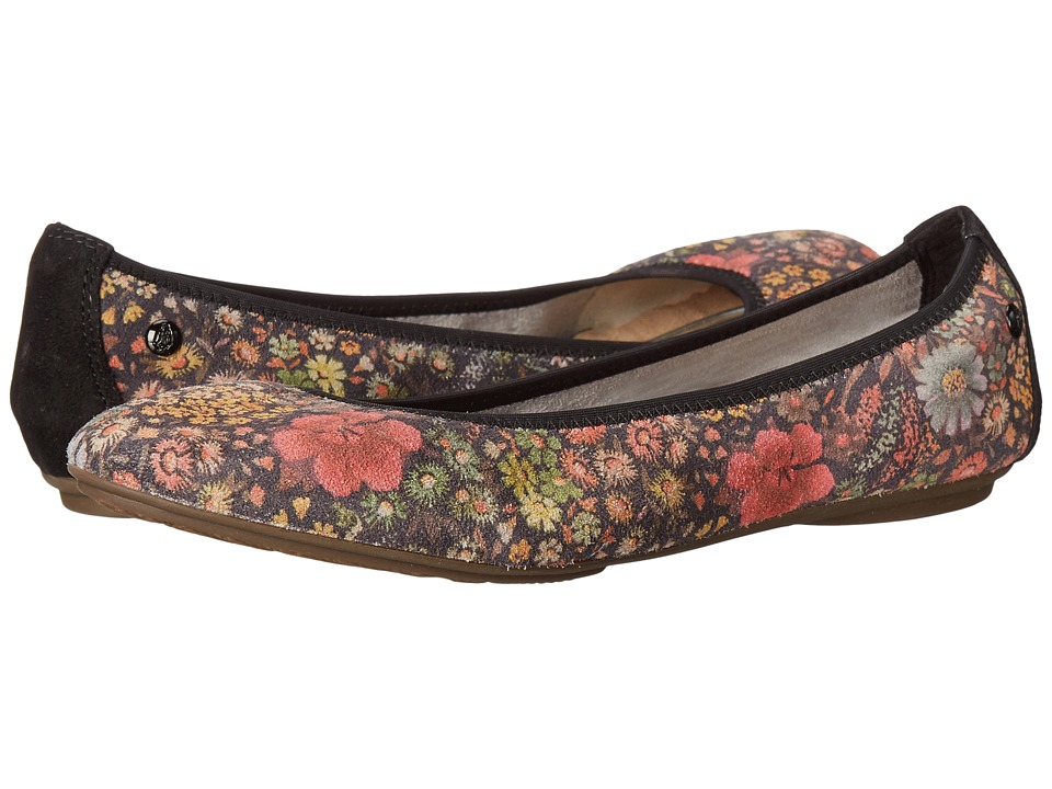 Hush Puppies Chaste Ballet (Black Floral Suede) Women