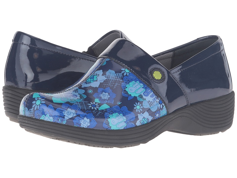 Work Wonders by Dansko - Camellia (Navy Floral Patent) Women's Clog Shoes