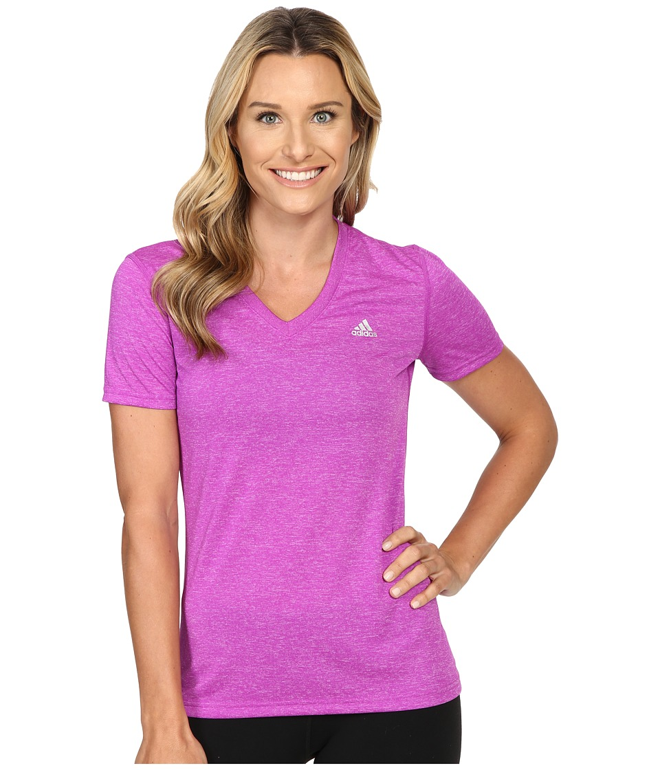 adidas - Ultimate S/S V-Neck Tee (Shock Purple/Matte Silver) Women's T Shirt