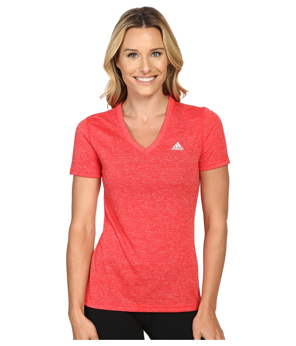 adidas - Ultimate S/S V-Neck Tee (Ray Red/Matte Silver) Women's T Shirt