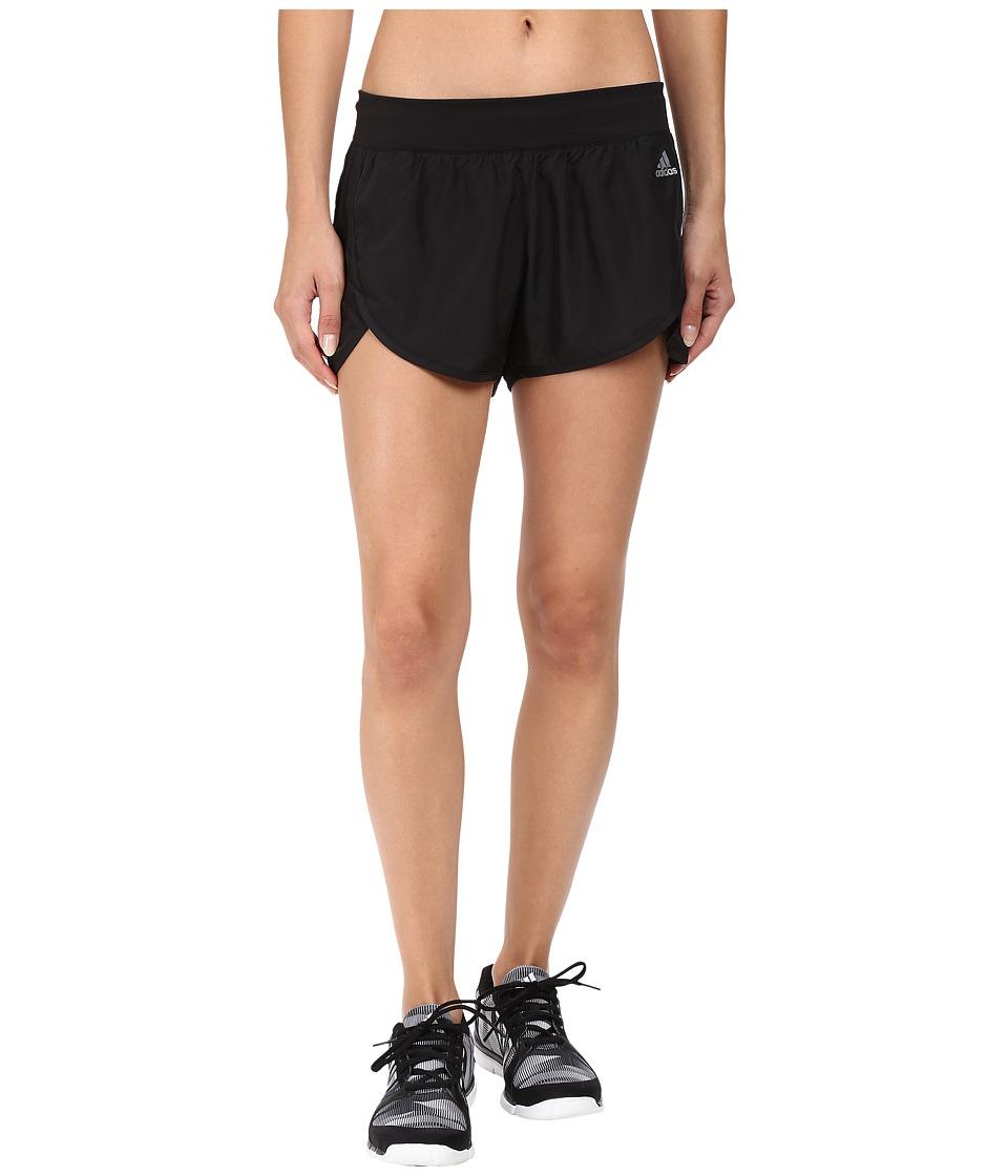 adidas - Ultimate Woven 3-Stripes Shorts (Black/Black) Women's Shorts