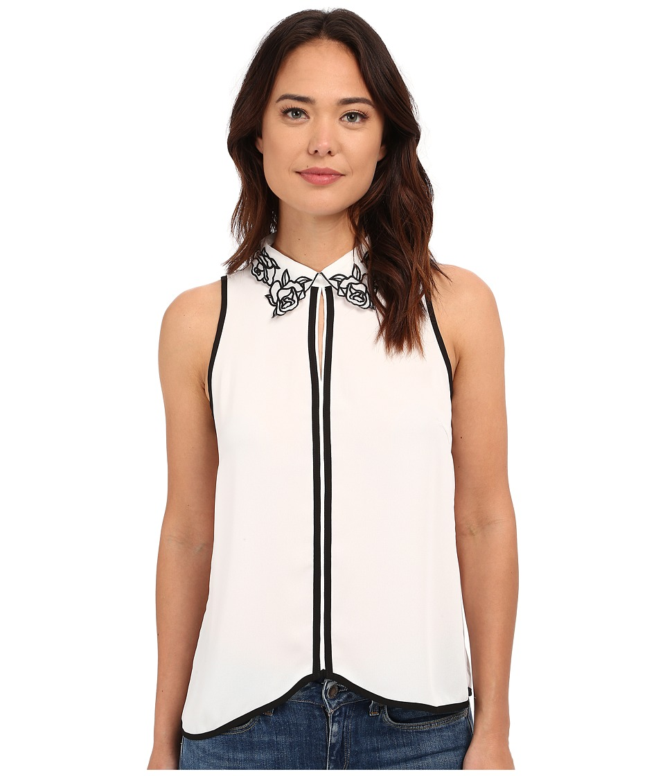 Brigitte Bailey - Kaela Floral Neck Top (White/Black) Women's Blouse