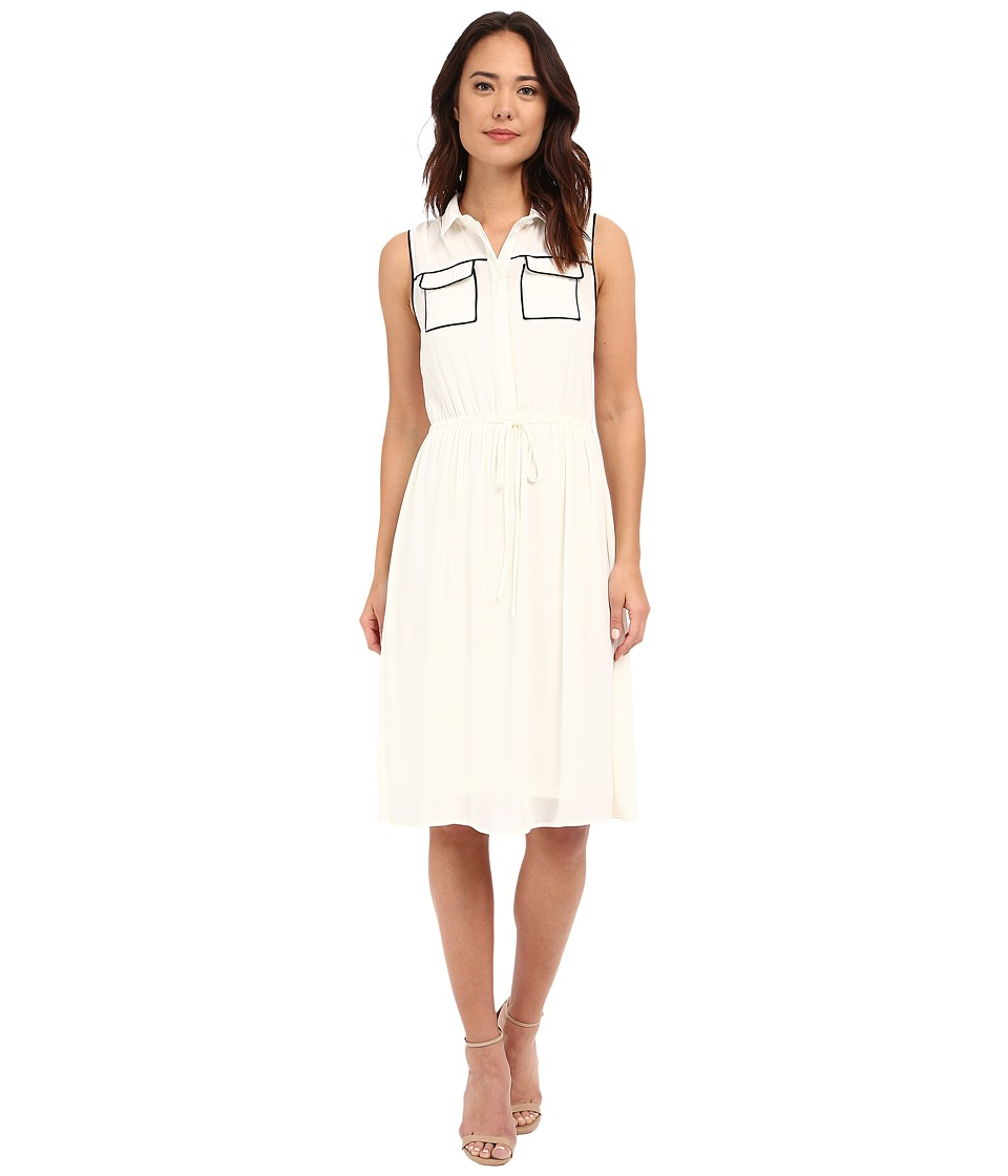 Brigitte Bailey - Kahla Accent Pocket Dress (White/Black) Women's Dress