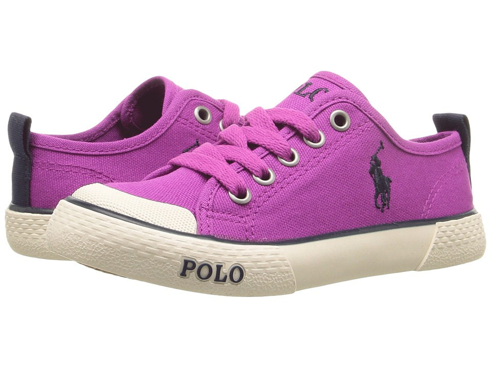 Polo Ralph Lauren Kids - Carlisle III (Little Kid) (Berry Canvas/Navy Pony Player) Girl's Shoes