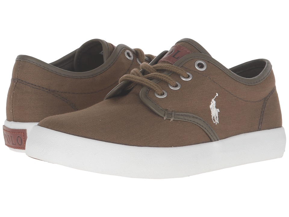 Polo Ralph Lauren Kids - Waylon (Little Kid) (Olive Herringbone Twill/Cream Pony Player) Boy's Shoes