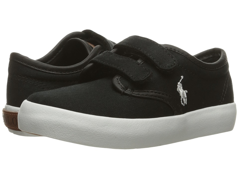 Polo Ralph Lauren Kids - Waylon EZ (Toddler) (Black Herringbone Twill/Cream Pony Player) Boy's Shoes