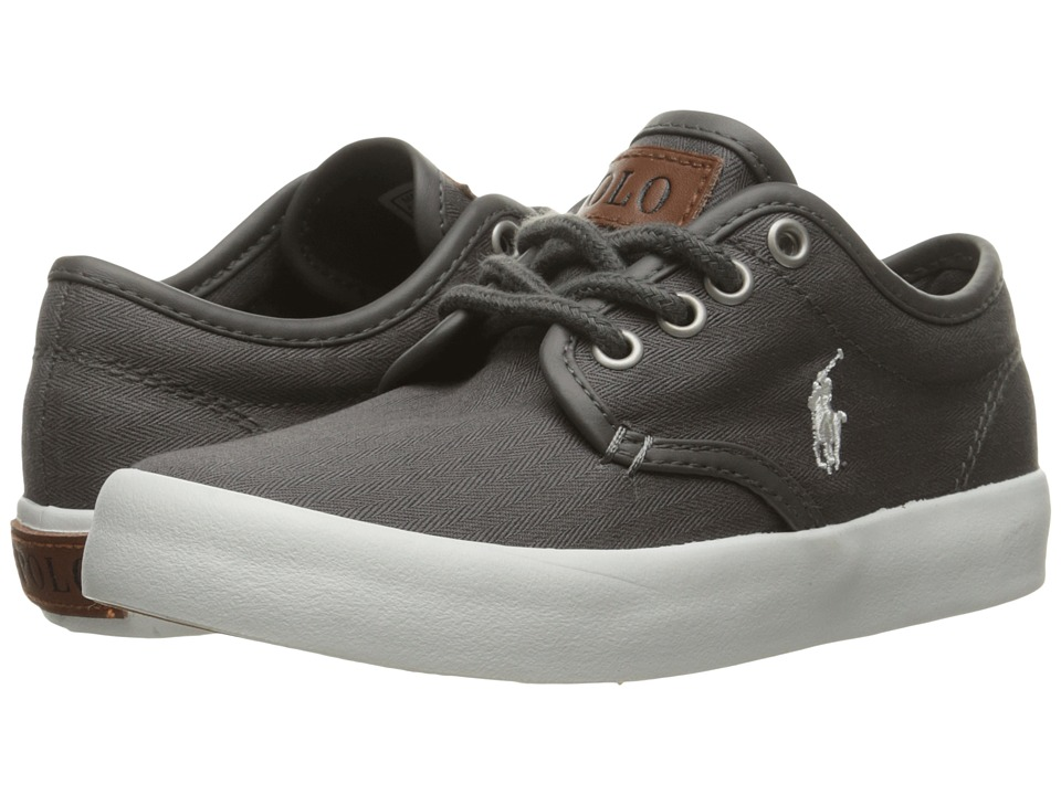 Polo Ralph Lauren Kids - Waylon (Little Kid) (Grey Herringbone Twill/Cream Pony Player) Boy's Shoes