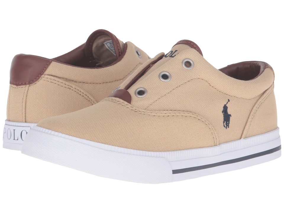 Polo Ralph Lauren Kids - Vito II (Little Kid) (Khaki Canvas/Grey Pony Player) Boy's Shoes