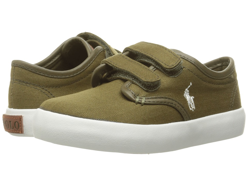 Polo Ralph Lauren Kids - Waylon EZ (Toddler) (Olive Herringbone Twill/Cream Pony Player) Boy's Shoes