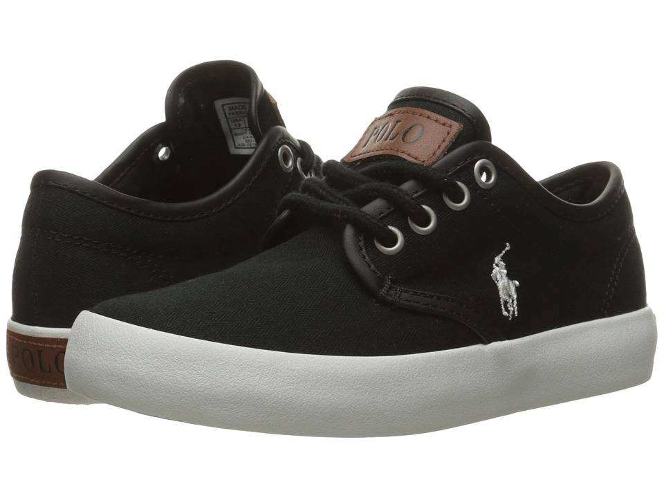 Polo Ralph Lauren Kids - Waylon (Little Kid) (Black Herringbone Twill/Cream Pony Player) Boy's Shoes