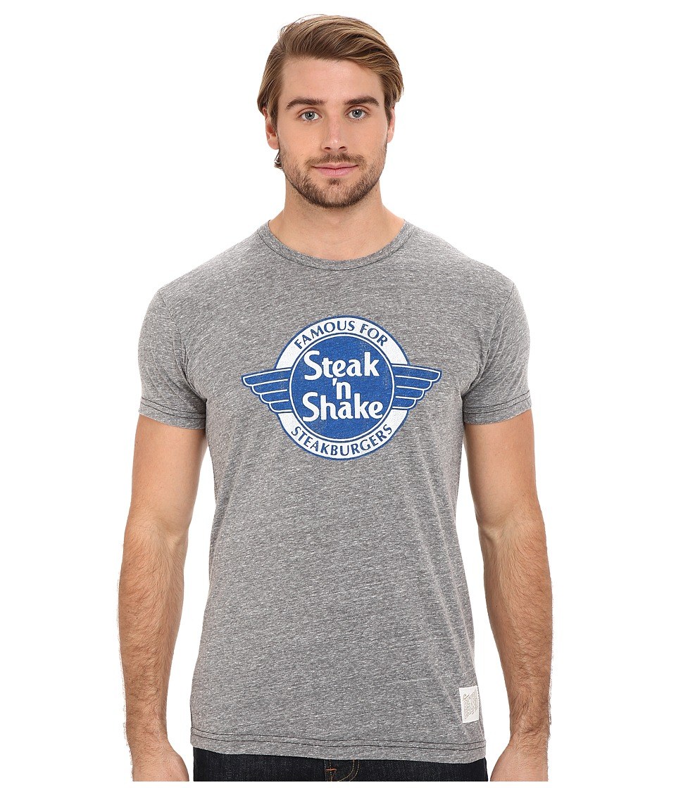 The Original Retro Brand - Short Sleeve Tri-Blend Steak N Shake T-Shirt (Streaky Grey) Men's Short Sleeve Pullover